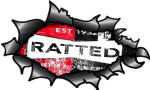 Ripped Torn Carbon Fibre Fiber Design With Distressed Ratted Rat Look Motif External Vinyl Car Sticker 150x90mm